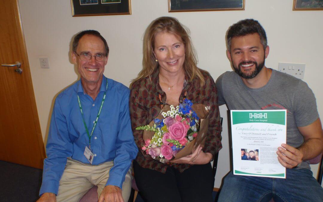 Christopher Hinton, Chief Executive with Lucy O'Donnell and Marcos Petarnella. Holy Cross Hospital.